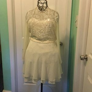 Cream colored sequined cocktail dress